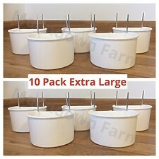 10 X Extra Large 10cms Cage Feeder /  Drinker D Cup Chicken / Rabbits / Birds