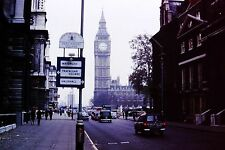 Vintage Slide 1968 London Parliment Square View of Big Ben Old Cars Signs