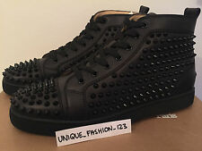 CHRISTIAN LOUBOUTIN LOUIS FLAT CALF SPIKES US 10.5 9.5 43.5 TRIPLE BLACK METAL