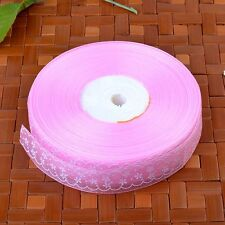 Sheer Organza Flower Printing  Ribbon 25mm Wide  Embroidered Trim Party Sewing