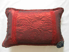 NEW - Paoletti Floral Embroidered Lace Bead Sequin Frill Cushion Cover Burgundy