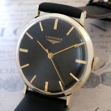 Mens 1955 Longines 23ZS Caliber Black Dial 10K Gold Filled Vintage Swiss Watch