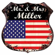 BPLU0006 America Flag MR. & MRS MILLER Family Name Sign Home Decor Gift