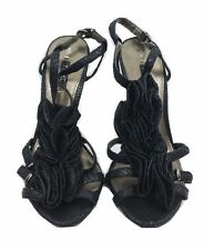NEXT Shoes Sandals Size 4 Black w/Ruffled Front Heel Xmas Party Cocktail
