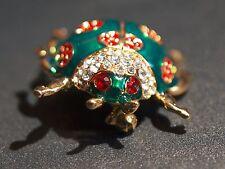 Vintage Rhinestone Enamel Lady Bug Brooch Pin