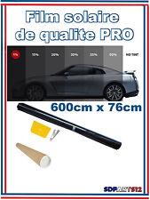 Film solaire Noir qualité PRO, 6m x 76cm, teinté 1%VLT (1%PRO2) auto, batiment