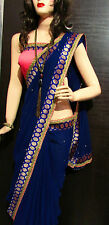 KC Designer Saree Lovely Party Wear Blue wid New Look Border Work Blouse On Sale