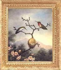 HUMMING BIRD NEST Dollhouse Miniature FRAMED Picture - MADE IN AMERICA