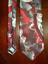 Vtg Oscar de la Renta Abstract Leaf Leaves Tie Dark Red Navy Blue Maroon Necktie