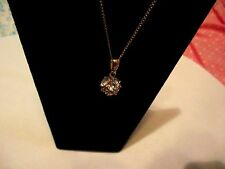 Vintage Clear Crystal Rhinestone Ball Pendant 12KT Gold  Necklace