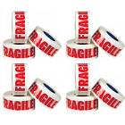 12 ROLLS OF FRAGILE BUFF PARCEL PACKING TAPE PACKAGING CARTON SEALING 48MM X 66M