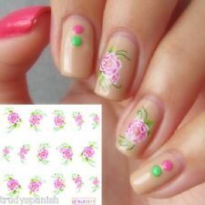 Nail Art Stickers Nail Water Decals Nail Transfers Pink Flowers Roses 1617