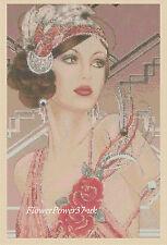 Gráfico de punto de Cruz Art Deco Dama no 121 FLOWERPOWER 37-uk Gratis Reino Unido P&p..