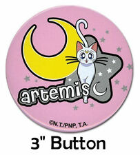 """Sailor Moon Artemis the White Cat w/ Moon & Star LG 3"""" Official Pinback Button"""