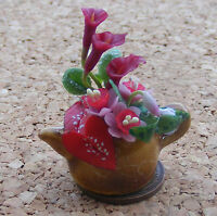 1:12 Mixed Flowers In A Ceramic Tea Pot Dolls House Miniature Flower Accessory