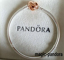 PANDORA AUTHENTIC ROSE HEART CLASP BANGLE BRACELET #580719-19 19CM/7.5INCH