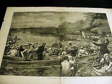 A.B. Frost College Regatta VICTORIANS WATCH from ROWBOATS 1880 Large Folio Print