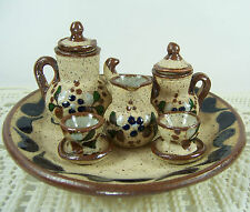 Cabo San Lucas 10-pc MINIATURE Clay Pottery TEA SET Folk Art Hand Painted MEXICO