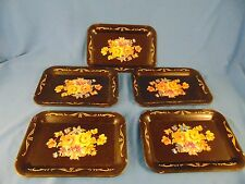 Mini trays black flowers design drink coasters hors d'ouevrs party supplies art