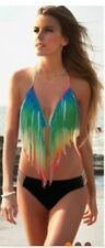 New Womens Bandage Rainbow Fringe Bikini Set Swimsuit size 8-10-12 available