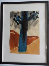 JOSEF HERMAN RA 1911-2000 ORIGINAL PAINTING, FULL PROVENANCE 'TREE IN BLUE'