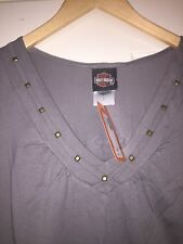 "NWT HARLEY-DAVIDSON gray V-Neck ""Lane Stealer"" STUDDED t-shirt Charlotte NC XL"