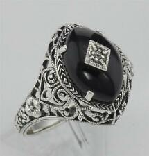 Art Deco Style Black Oynx Ring with Diamond Center - Sterling Silver Size 8
