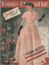 Femmes d'Aujourd'hui N°450 du 19 décembre 1953 avec patron robe du soir / Calvo