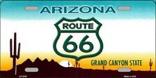 Route 66 Arizona State Background Metal Novelty License Plate Tag