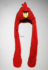NEW RED Angry Birds Beak Embroidered Plush SNOOD Laplander Hat Mittens Scarf