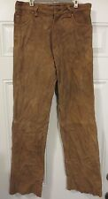 J. CREW mens suede leather pants size 30 brown faded fully lined acetate vintage