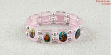 Pink -OR- Aqua  ~*~  Acrylic SAINT SAINTS Stretch Bracelet catholic gift