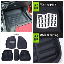 Universal 5x Car Floor Mats Front&Rear Carpet Fit All Weather Black Leather Mat
