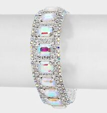 Aurora Borealis Chain Pageant Silver Ab Crystal Rhinestone Prom Clear Bracelet