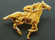 Unsigned Vintage Goldtone Thoroughbred Horse Racing #7 Derby Race Pin Brooch NR
