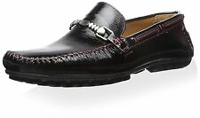Bacco Bucci Men's Gallo Loafer Black/Red Leather SZ 10 MSRP 180$ Spain
