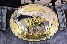 New Men Women Big Gold Rodeo Bull Rider Silver Metal Western Fashion Belt Buckle