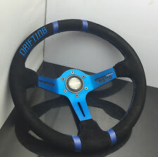 350mm Suede Leather 89mm Deep Dish Drifting Steering Wheel MOMO OMP Racing Rally