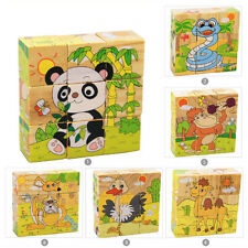 6 Sides Wooden Cartoon Puzzle Blocks Educational Baby Kids Training Toy Gift