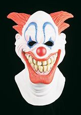 Wide Smile Latex Clown Mask Big Teeth Red Spiky Hair Large Lips Smiling Adult