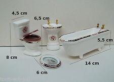 salle de bain complète,miniatue en porcelaine,maison de poupée,vitrine