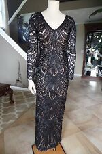 NWT SUE WONG Black Beaded Ribbon Embroidered  Long Evening Gown Dress 6