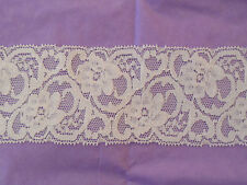 Ivory Embroidered Vintage Floral lace trim.Clothes DIY lace trim.Sold by meter