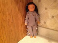 "Native American Indian Doll Handmade Boy Beaded/Fringed Outfit 13.25"" tall"