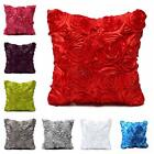 Satin Rose Flower Square Throw Pillow Cushion Case Cover Sofa Home Room Decor
