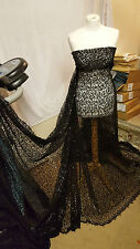 "1M BLACK SPIDER WEB SEQUIN NET BRIDLE DRESS FABRIC 55""WIDE"