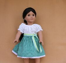 Doll Clothes fitting 18 in American Girl Green Camisa Skirt Sash Mexican Outfit
