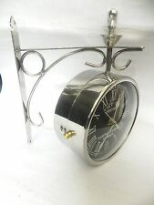 VICTORIA ~ STATION ~ RAILWAY SILVER CLOCK LONDON DOUBLE ~ SIDE ~ CLOCK 8 INCHES