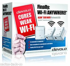 DEVOLO 9092 POWERLINE DLAN 500 WIFI NETWORK KIT WITH 3 ADAPTERS/PLUGS