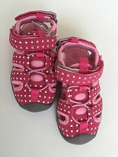 FALLS CREEK Pink White Polka Dot  Fisherman Sandals Shoes Girls 6 Toddler Infant